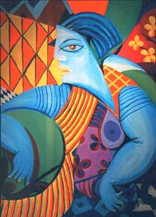 photo of blue woman painting