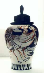 photo of ink painted Chinese vase
